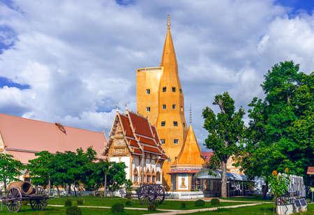 Golden pagoda at Wat Bung Khilek, Khemarat District, Ubon Ratchathani Province, Thailand
