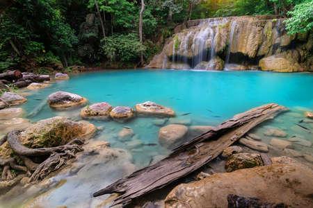 Erawan Waterfall with clear turquoise water at Kanchanaburi, Thailand Stok Fotoğraf