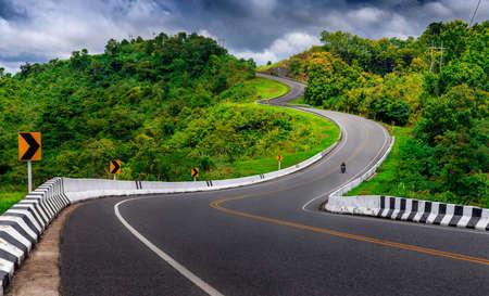 Beautiful road way from Pua to Bo Kluea District, Nan province, Thailand Stok Fotoğraf
