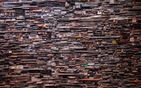 The walls are made from many pieces of wood