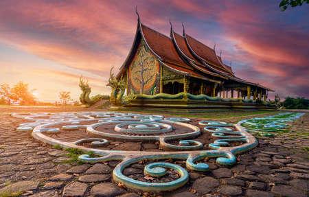 Wat Phuproud magical glow at sunset.Ubon ratchathani,Thailand