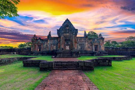 Muang Tam sanctuary stone castle on sunset background famous landmark of Buriram province in Thailand, castle Sunset