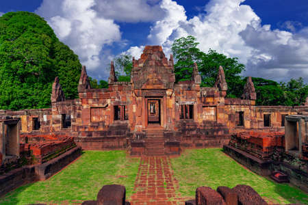 Muang Tam sanctuary stone castle on bluesky background famous landmark of Buriram province in Thailand Editöryel