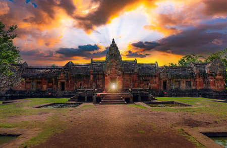 Natural phenomena at sunrise and sunset sunrise through the door of Phanom Rung Castle,Buriram province,Thailand