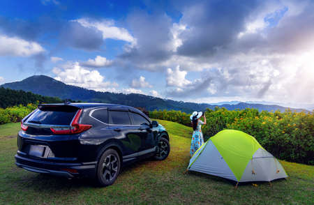 Adventures, travel and camping in Tung Bua Tong fields, Mae Hong Son Province, Thailand Stok Fotoğraf