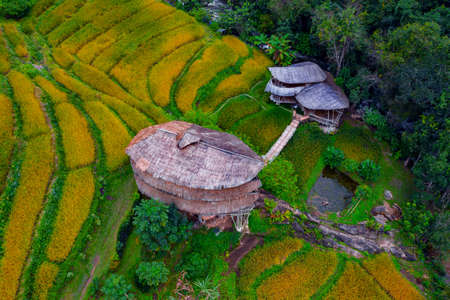 House made of bamboo thatch roof with grass in Chiang Mai, Thailand