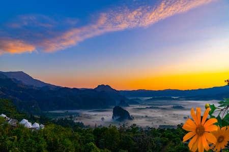 Mountain views of Phu Langka National Park and misty, Phayao province,Thailand Stok Fotoğraf