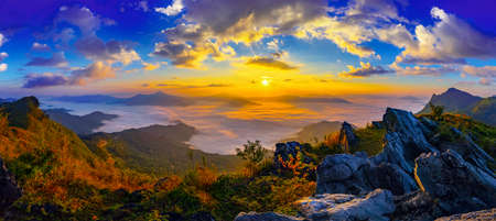 Panorama Sunrise and misty at Doi Phatang viewpoint, Chiangrai province, Thailand