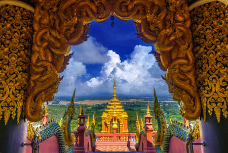 Wat Phra That Doi Phra Chan on the top hill of Doi Phra Chan mountain in Mae Tha, Lampang province, Thailand