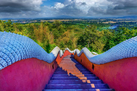 The stairway up to Wat Phra That Doi Phra Chan is another beautiful temple in Mae Ta District, Lampang Province, Thailand Imagens