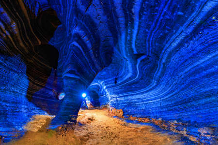 Amazing rock wall at the blue cave  amazing unseen adventure at Tak province, Thailand Imagens