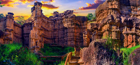 Cliff stone of Pha Chor is tourist attraction place  at Mae Wang National parks in Chiang Mai,Thailand