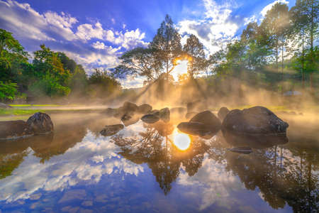 Hot springs and fog  with sunlight the morning at Chae Son National Park Mueang Pan district, Lampang province Thailand