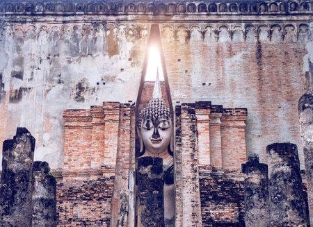 Pagoda at Wat Sri Chum temple,Temple in Sukhothai Historical Park, Sukhothai Province,Thailand. UNESCO world heritage Editorial