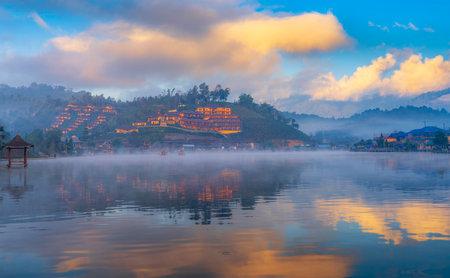 View lake and morning fog in Ban rakthai village, Maehongson province,Thailand