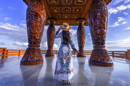 Asian woman standing at viewpoint on Doi suthep, Chiang Mai province,Thailand.