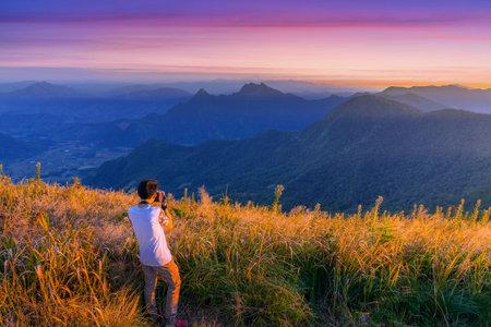 Beautiful mountains landscape. Sunset on Phu Chi Fa, North Thailand Foto de archivo