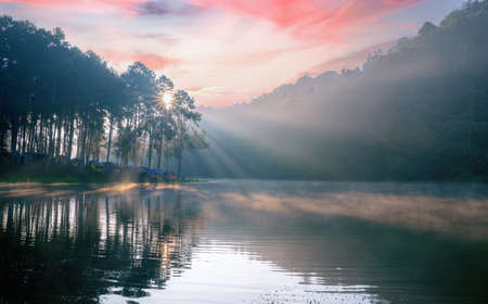 Morning sunrise over stream and pine tree camping in lake at Pang Ung lake,  Mae Hong Son province, Thailand