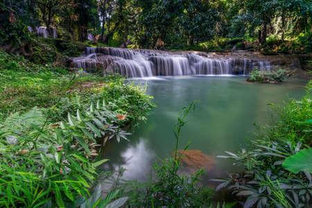 Thansawan waterfalls in tropical rainforest in Doi Phu Nang National Park, Phayao province, Thailand.