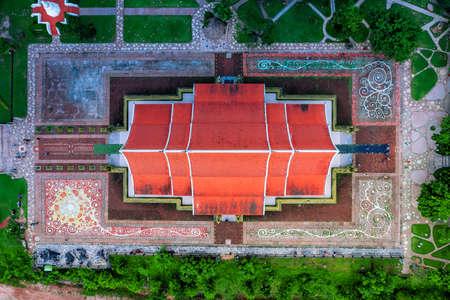 Wat Sirindhorn Wararam Temple (wat phu prao) Travel Religion Place Aerial View Of Ubon Ratchathani, Thailand Foto de archivo