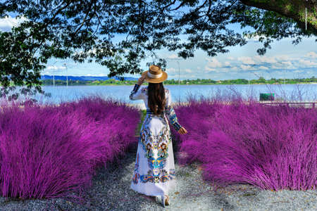 Asian woman stands looking at purple grass on the banks of the Mekong River in Nakhon Phanom Province, Thailand