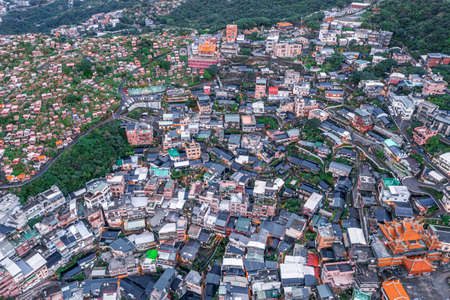 Aerial view Jiufen hill side Old town near Taipei Taiwan, Famouse old market street