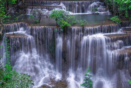 Huai Mae Kamin waterfall(Fourth level) Srinakarin Dam in Kanchanaburi, Thailand Foto de archivo