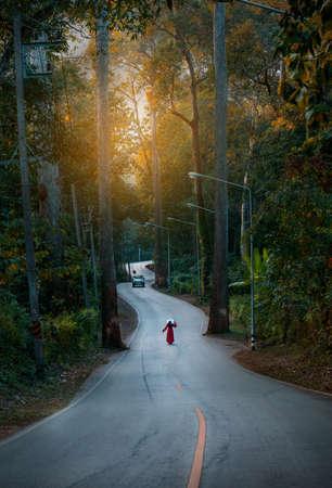 Beautiful Road for passsing to ChiangDao Mountain, ChiangMai, Thailand. Foto de archivo