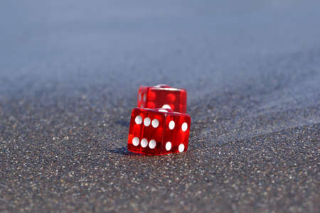 dices on sand
