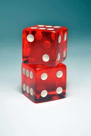 dado: Two Red Dice on top of another Stock Photo