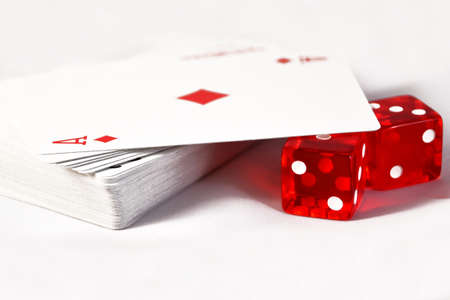 clave: Dice with playing cards background Palabras clave aspirations