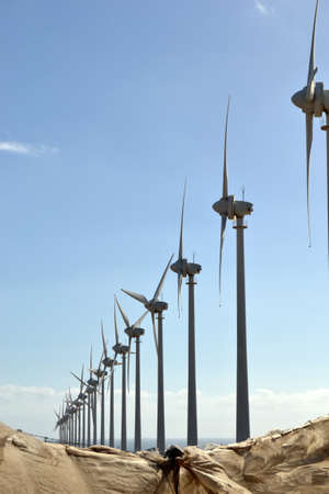 Windmills with blue sky  Stock Photo