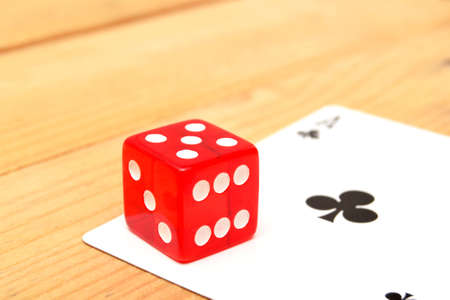 red dice: Poker cards and red dice Stock Photo