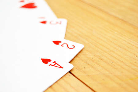 Poker cards on wood photo
