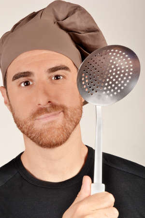 skimmer: chef with skimmer Stock Photo