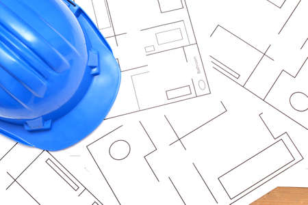 confound: Helmet and tools for construction drawings Stock Photo
