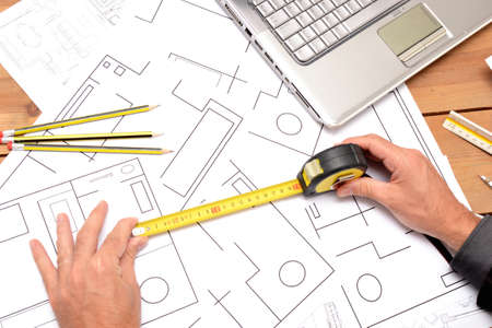 Architect with architectural material photo