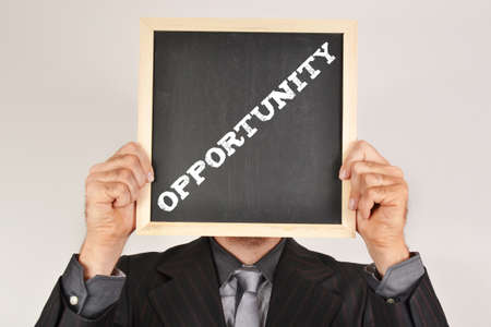 Businessman with message opportunity photo