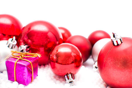 christmas gift: Christmas balls and gift Stock Photo