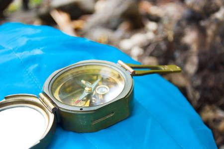 azimuth: Compass on nature Stock Photo
