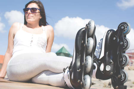 rollerblade: woman with roller skate