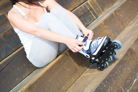 rollerskates: young woman with rollerskates