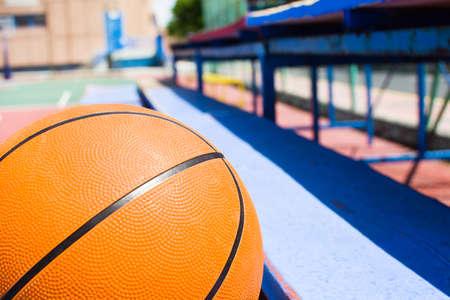 bleachers: Basketball in bleachers. Baskeball field. Stock Photo