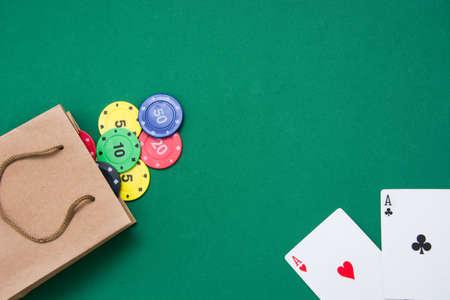 poker card: cardboard bag with poker supplies