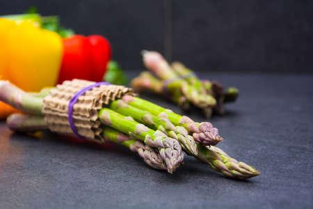 dark slate gray: Vegetables on slate table