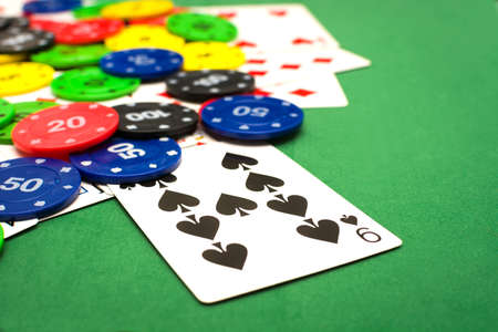 poker player: Poker chips and poker cards