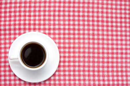 checkered tablecloth: Coffee on checkered tablecloth Stock Photo