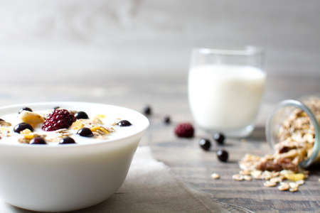 Natural yogurt with fresh berries and cereals