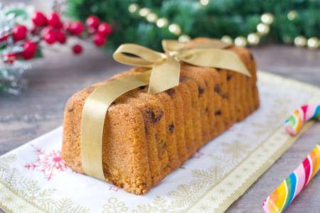 christmas food: Traditional fruit cake for Christmas Stock Photo