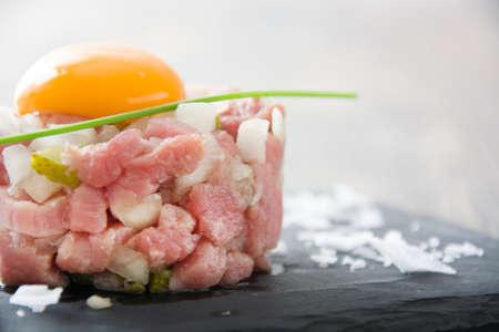 appetizers menu: Steak tartare Stock Photo